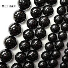 Meihan wholesale (2 strands/set)  natural 6mm & 8mm black tourmaline round loose beads gem stone accessories