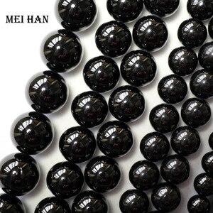 Image 1 - Meihan wholesale (2 strands/set)  natural 6mm & 8mm black tourmaline round loose beads gem stone accessories