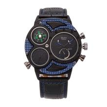 Relojes de los hombres OULM Marca de Lujo Tag Reloj Correa de Cuero de Alta Calidad de Japón Movt Compás Militar de Cuarzo Reloj Deportivo