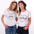 NiceMix Best Friends T Shirt 2017 Summe Casual Harajuku Tumblr Print Heart-shaped Best Bitches Letter Women Tops Camisetas Mujer