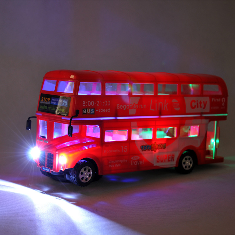 Niño de juguete de la ciudad de plástico coche Bus de doble capa juguete modelo