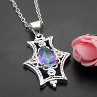 Hermosa Jewelry Anchor Drop Rainbow Mystic Fire Topaz 925 Sterling Silver Necklace Pendants 50MM HP062
