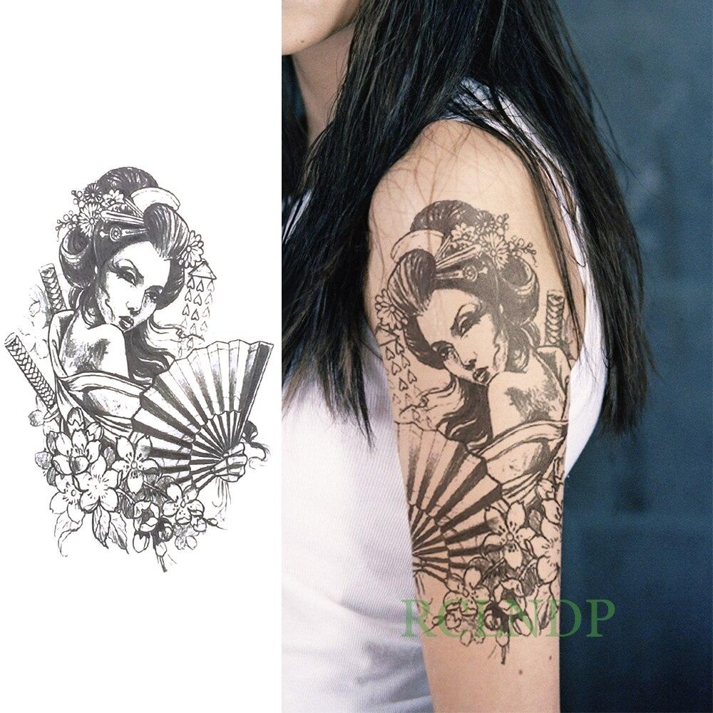 Tahan Air Sementara Tato Stiker Keren Kuno Jepang Geisha Tattoo
