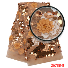 High quality Gold Color African Wedding Lace Fabric 3D Flower Hot Sale