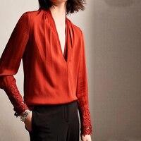 Элегантная блузка работы конструкций v образным вырезом рубашка Дамы Повседневное 2018 осень цветочные длинным рукавом блузки Для женщин топ