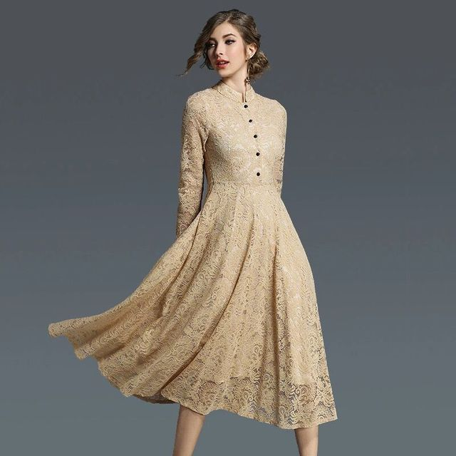 a8a1010fd8 Muqisiyun Women Luxury Vintage Style 2018 Spring Lace Long Sleeve Lace Slim  Dress Party Dresses Vestidos Dames Kleding E8103