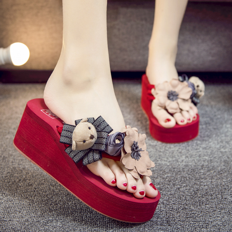 2018 Beach Slides Fashion Solid Women Shoes With Rhinestone Butterfly-knot Woman Sandals Summer Flats Size 35-42