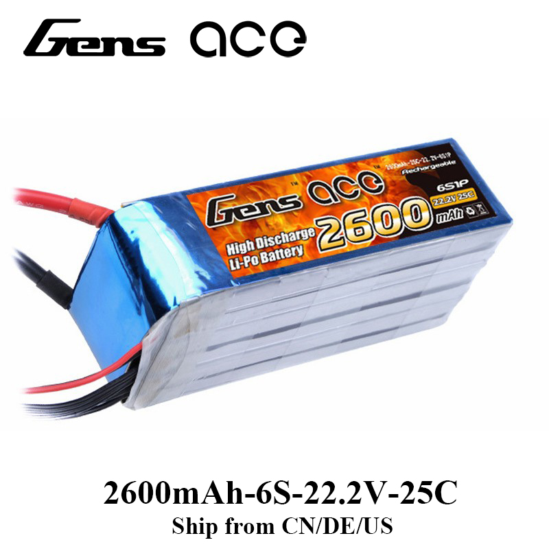 Gens ace Lipo Battery 22.2V 2600mAh Lipo 6S Battery Pack Deans Plug Battery for RC Car Helicopter FPV Drone gens ace lipo battery 11 1v 5000mah lipo 3s 45c rc battery pack deans plug for mikado logo500 align t rex550 600 gaui x5 rc car