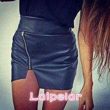 Sexy Women Bodycon Skirt Top Quality PU Leather Skirt Ladies Mini Short Skirt Side Split Zip Skirt Black Sexy KH820070 Laipelar