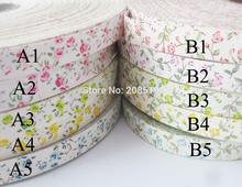 CR0005 100% cotton printed Flower 15MM Ribbons 30Yards/lot Children Clothes Accessories DIY handmade Craft