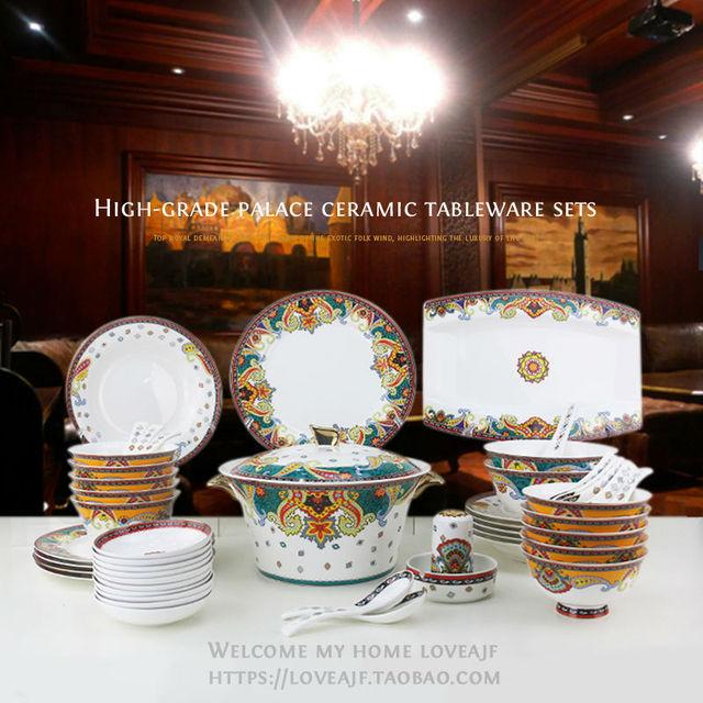 Chinese Porcelain Dinnerware Fine Bone China Set Luxury Sets Dinner Dish Gold Plated