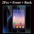 Front + back protector de pantalla de cristal templado de cine para huawei ascend p7 p8 para huawei honor 6 6 plus