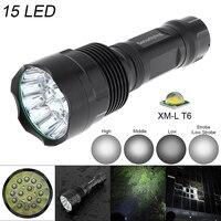 SecurityIng Super Helle 15x T6 LED 5000Lumen Wasserdichte Taschenlampe mit 5 Modi Licht Unterstützung 18650 Akku|flashlight torch|waterproof flashlightt6 led -