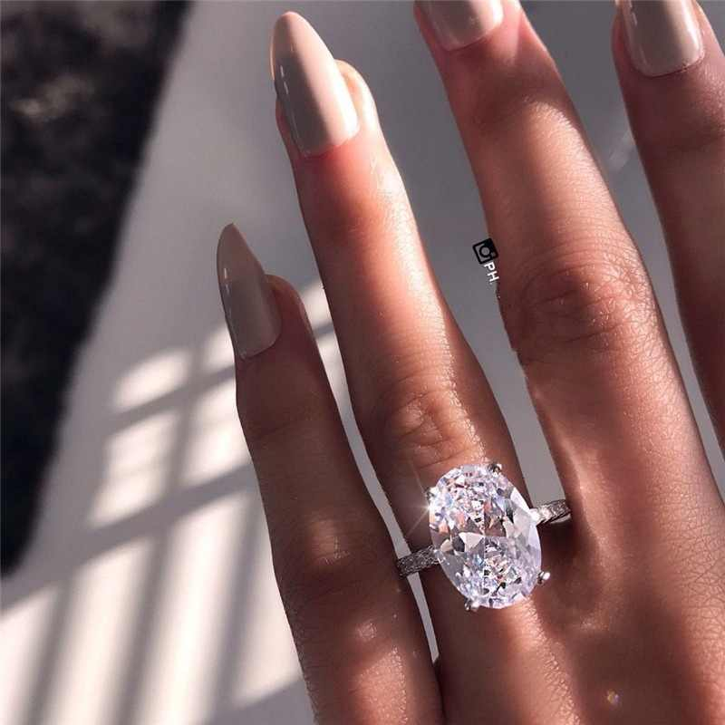 Luxury female crystal white zircon stone ring fashion 925 silver wedding jewelry engagement ring female best gift