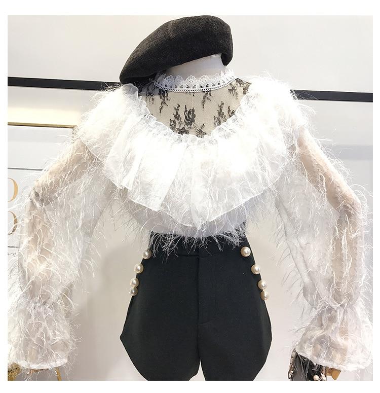azul De Costuras Cielo Primavera blanco Mujeres Piezas Dulce Otoño Coreano Nueva Blusa Moda Beige Encaje Tops Malla Camisa Conjunto negro La Las Dos 2019 rosado fIxqwp1OW