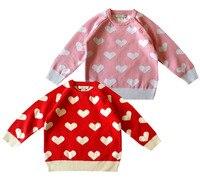 Trẻ em Áo Len Cô Gái Vòng Cổ Dệt Kim Hàng Đầu Bé Gái Mùa Đông Áo ấm Trẻ Em Hình Trái Tim Ngọt Ngào Áo Len Màu Hồng Màu Đỏ quần áo