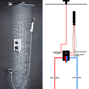 Image 5 - hm Shower Faucet Mixing Valve 3 Ways Concealed Easy mount Box 2 Handles Brass Concealed Valve Chrome Hot and Cold
