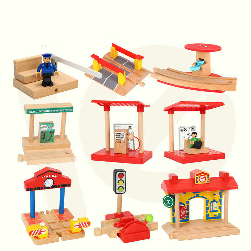 EDWONE-New One Wood Railway Small Gas Station Train Slot Accessories Original Toy Kids Xmas Gifts Fit THOMAS BIRO Toys