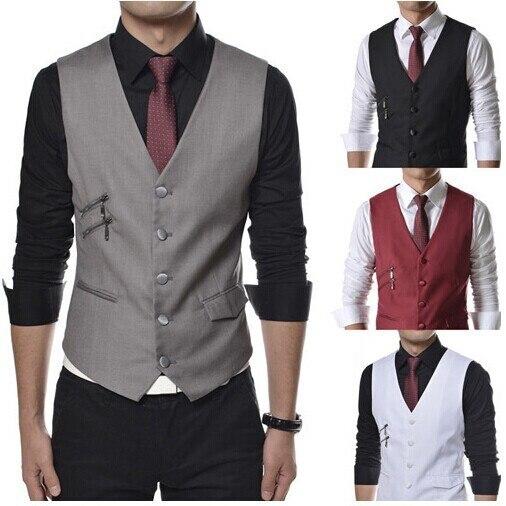 New Man Autumn Suit Vests  Causal Black Dress Shirts Men Slim V Neck Business