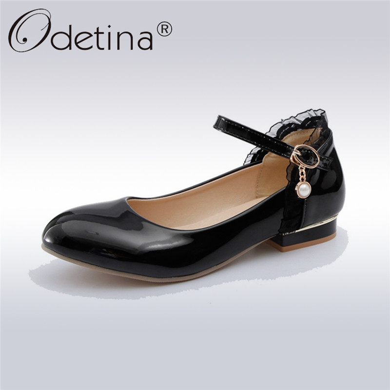 Odetina 2018 New Fashion Mary Janes Buckle Strap Pumps Pearl Ruffles Sweet Shoes Low Heel Shoe Anckle Strap Footwear Big Size 43 odetina 2017 new summer ankle strap ballet flats buckle women mary jane shoes round toe casual flat shoes sweet big size 34 43