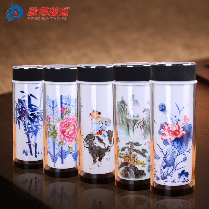 Chinese Unique Double Wall Glass Thermal Insulation Tea Cup Ceramic Vacuum Flasks My Water Bottle Insulated