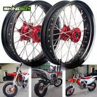 for CR 125 CR250 02 03 04 05 06 07 CRF 250 450 R X 12 2013 2014 Supermoto Front Rear 3.5*17 4.25*17 Black Wheel Rim Red Hub Set
