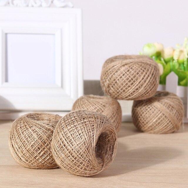 Cuerda de cáñamo Natural para colgar etiquetas, cuerda tejida para decoración del hogar, cordel de yute, cordón de jardinería, manualidad para regalo, 100m por rollo