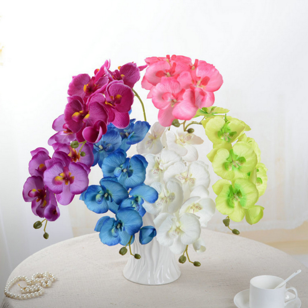 8 head diy artificial butterfly orchid fake silk flower for Artificial flower for wedding decoration