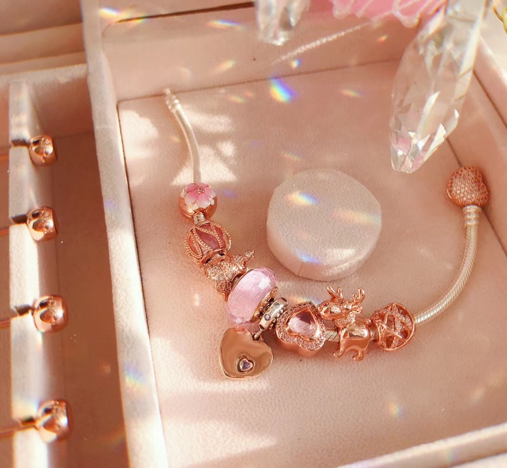 Original 100% 925 Silver Charm 1:1 Version Rose gold Charm Petal Beads Charm Copy Jewelry For Women 1:1 With Logo Bracelet Original 100% 925 Silver Charm 1:1 Version Rose gold Charm Petal Beads Charm Copy Jewelry For Women 1:1 With Logo Bracelet