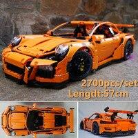New Technic Porsche Super racing car fit technic speed car model building kits blocks bricks toys boys birthday gift