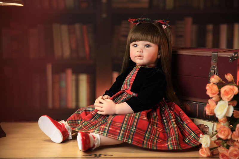 """60cm silicone renascer criança brinquedo 24 """"lifelike vinil princesa menina boneca do bebê de alta qualidade presente aniversário jogar casa brinquedo"""