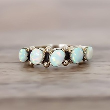 Design Vintage Opal Knuckle Rings Set For Women Boho Geometric Pattern Flower Rings Party Bohemian Jewelry 8 PCS/Set