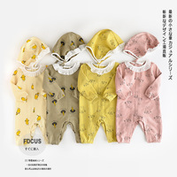4 Colors Baby Rompers New Arrival Cotton Cute Print Girls Long Sleeves Rompers + Hat