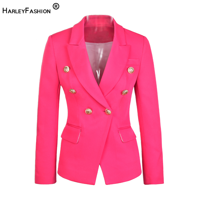 HarleyFashion Euroamerican Runway Designing Top Quality High Street Style Blazers Double Breasted Fit Women Fashion Blazer