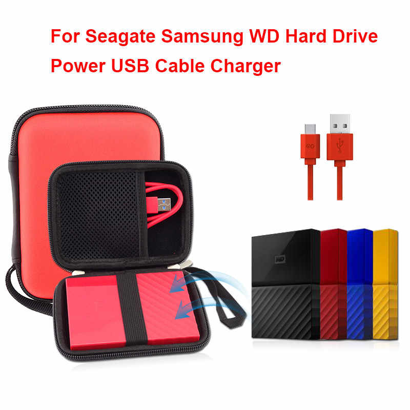 "Original 2.5"" HDD Case Protect Bag Box for Seagate Samsung WD Hard Drive Power USB Cable Charger External Hard Disk Pouch Case"