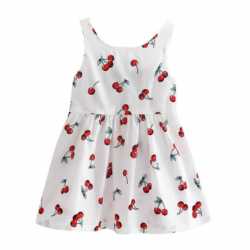 От 1 до 5 лет платье для маленьких девочек, платье принцессы для девочек, детское платье без рукавов с принтом и бантом, Хлопковое платье с круглым вырезом, детская одежда