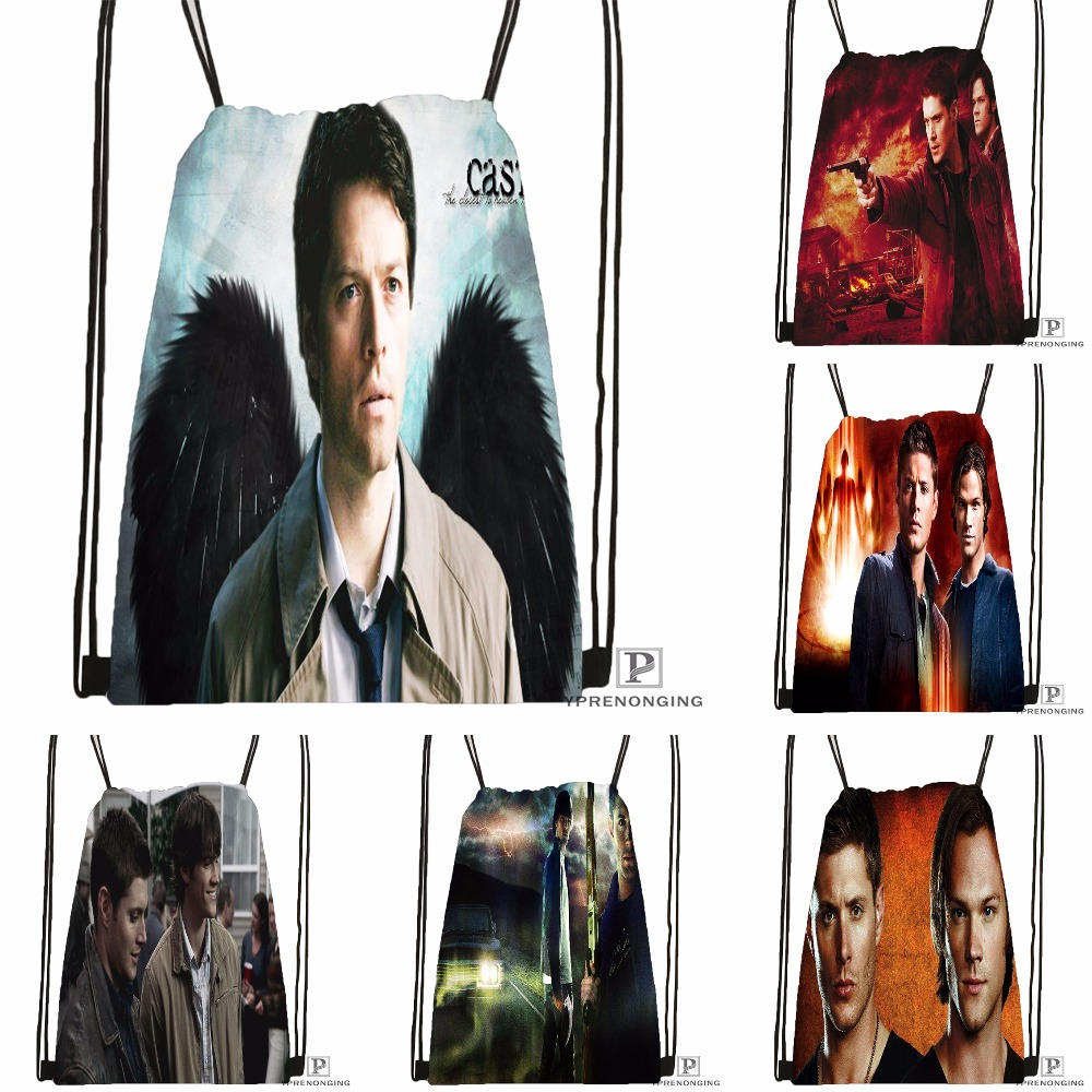 Custom Dean And Sam Supernatural Drawstring Backpack Bag Cute Daypack Kids Satchel (Black Back) 31x40cm#180531-04-30