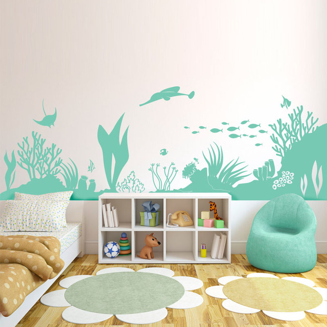 DCTOP Underwater World Silhouette Wall Decals Home Decor Sea Grass