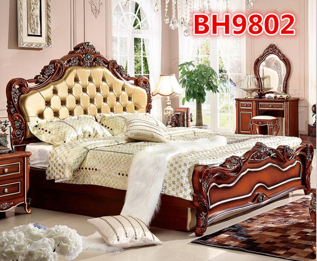 Chinese Products Wholesale Hand Carved Solid Bedroom Furniture BH9802