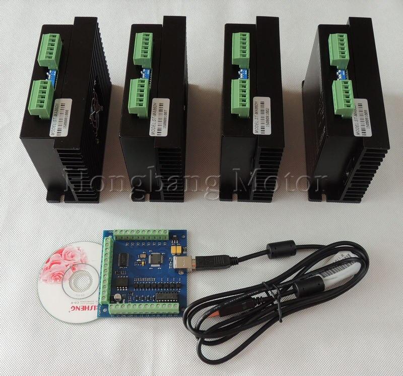 CNC mach3 usb 4 Axis Kit, 4PCS ST-MA860H 1 Axis Stepper Driver + 1PCS mach3 4 Axis USB CNC Stepper Motor Controller card 100KHz