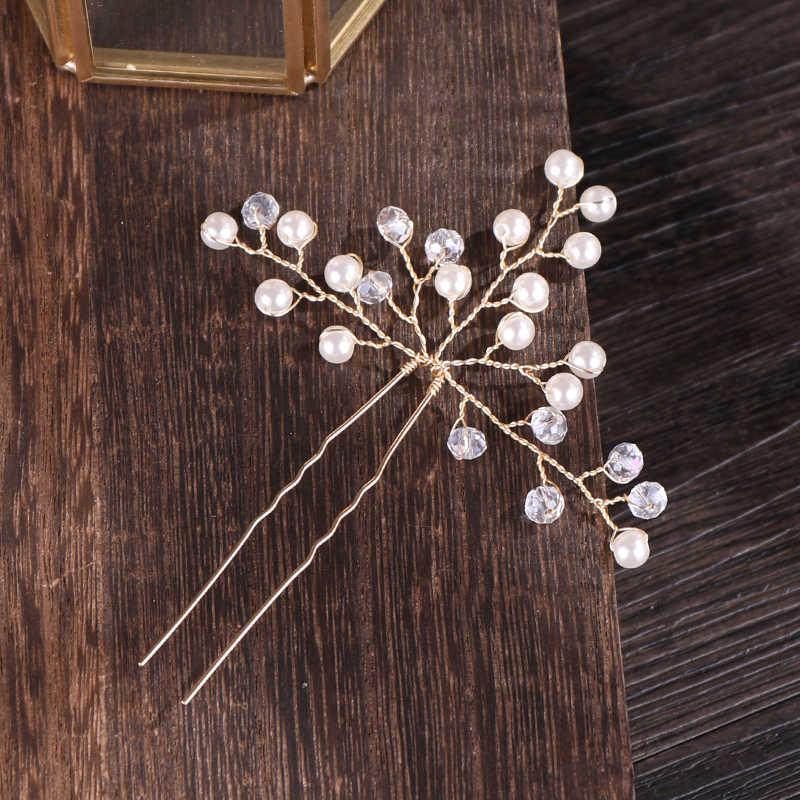 Épingles à cheveux de mariage brillant or argent cristal perle mariée bâtons de cheveux reine bijoux ornements à la main fourche cheveux accessoires