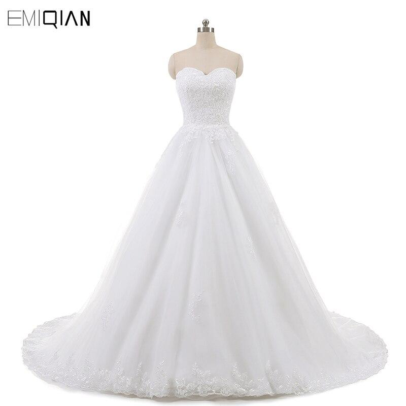 Real Photo Sleevess Vintage Blond Bröllopsklänningar 2018 En Line - Bröllopsklänningar - Foto 1