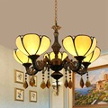 Европейский стиль постмодерн простой Средиземноморский теплый желтый цветной стеклянный гостиной столовой 5 подвесных ламп