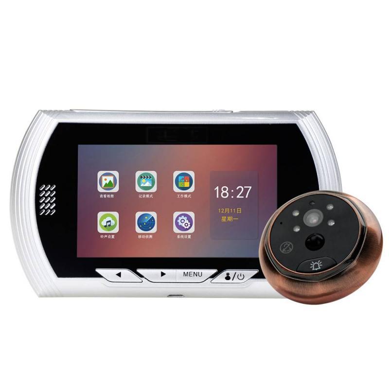 Hardware Diplomatic 4.3 Inch Hd Color Screen Smart Doorbell Viewer Digital Door Peephole Viewer Camera Door Eye Video Record Ir Night Vision Beautiful In Colour