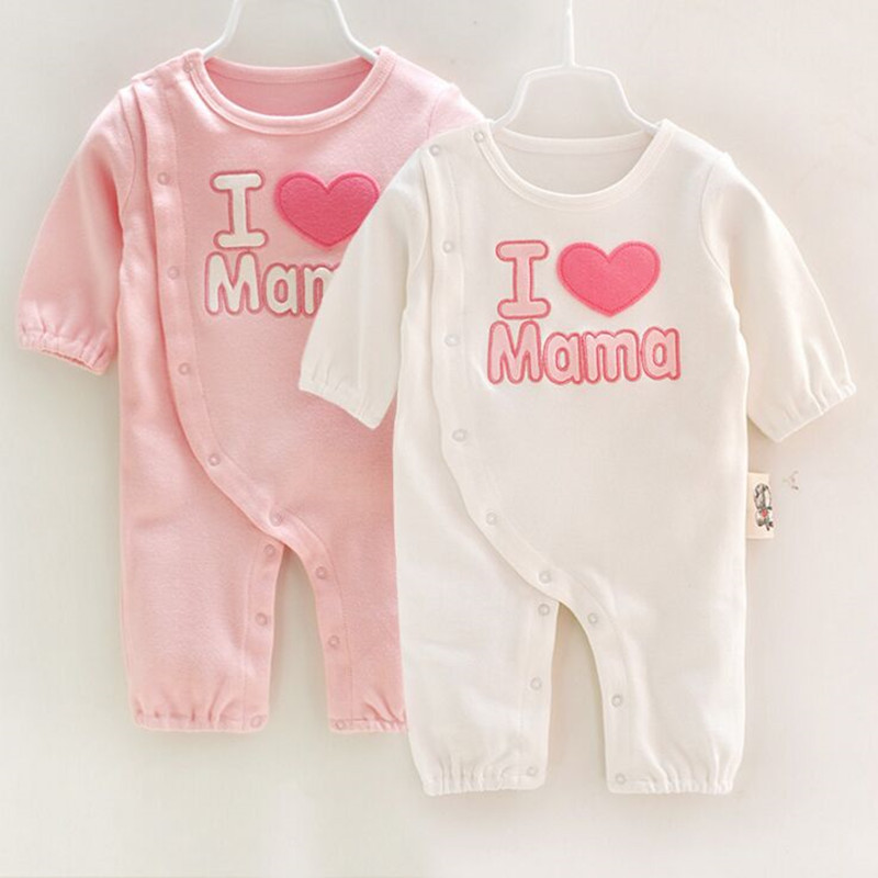 I love Mama Papa Baby Rompers Long Sleeve Newborn Boys Girls Clothing Birthday Baby Onepiece Clothes Jumpsuit Infant Wear