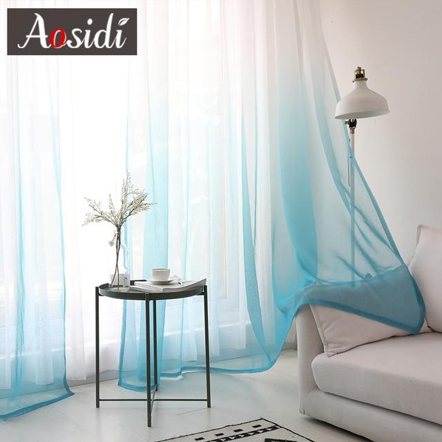 Finestra tende di tulle per soggiorno camera da letto moderna sfumatura di colore organza voile tende Decorazione Dell'hotel blu tende Trasparenti