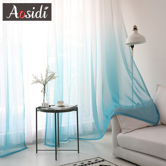 Modern gradient color window tulle curtains for living room bedroom organza voile curtains Hotel Decoration blue Sheer curtains Home Decor & Toys