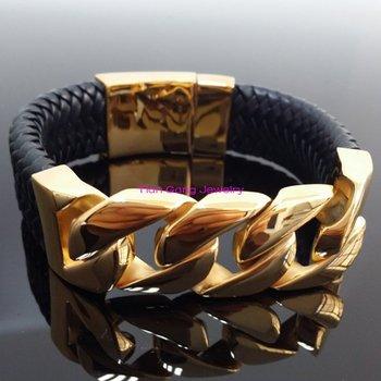 Chaîne Cubaine Noire   Mode Incroyable Hommes Argent Et Or 316L Acier Inoxydable Punk Gourmette Chaîne Cubaine Bracelet Bracelets 100% Noir Véritable Cuir Bijoux