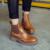 HEE grandes Ankle Boots Mulheres Botas Estilo Britânico Do Vintage Sapatos de Plataforma Mulher Deslizar Sobre Apartamentos Casuais Oco Mulheres Sapatos XWX4396