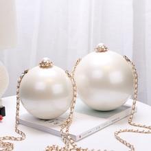 Spherical Shoulder Bag Big Lmitation Pearl Crossbody for Women 2018 Popular Cute The beautiful women Chain Messenger
